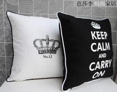 Modern Cotton Canvas Imperial Crown White Black Pillow Case Cushion Cover Sham