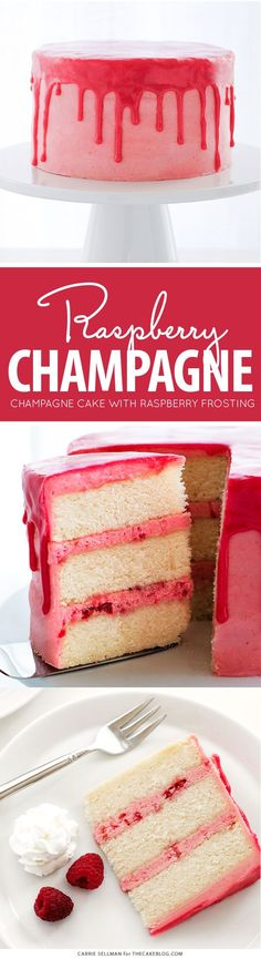 Raspberry Champagne Cake - champagne infused cake with raspberry champagne buttercream, raspberry drip glaze, fresh raspberries and cream | by Carrie Sellman for TheCakeBlog.com
