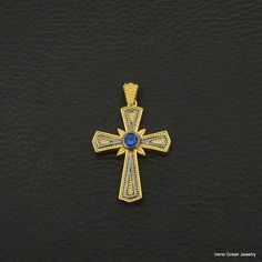 SAPPHIRE CZ BYZANTINE 925 STERLING SILVER 22K GOLD & RHODIUM PLATED GREEK CROSS #IreneGreekJewelry #Pendant