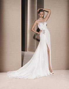 Gauze dress, with gemstone embroidery appliqués #rosaygris