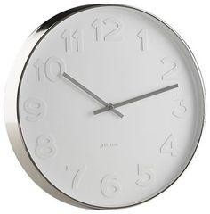 """Search Results for """"crate barrel embossed numbers 15 wall clock – domino Contemporary Clocks, Modern Clock, Modern Wall, White Clocks, Kitchen Clocks, Steel Rims, Thing 1, Gifts For Office, Large Clock"""