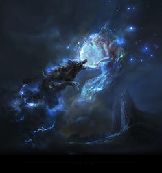 In Norse mythology, Hati was a wolf that every night wanted to devour the moon. Magical Creatures, Fantasy Creatures, Fantasy World, Dark Fantasy, Wolf Spirit, Fantasy Pictures, Fantasy Artwork, Space Fantasy, Fantasy Characters