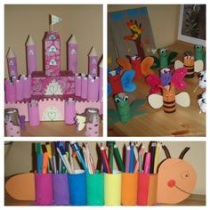Not in English, but really cute crafts. I think I could make them without instructions! Kids Crafts, Cute Crafts, Toddler Crafts, Decor Crafts, Crafts To Make, Craft Projects, Toilet Paper Roll Art, Rolled Paper Art, Bottle Cap Crafts