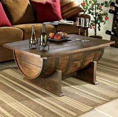 Handmade Vintage Oak Whiskey Barrel Coffee Table - love this!! plus the top opens for storage. Very cool.