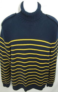 Vintage Polo Ralph Lauren Turtleneck Sweater Mens XL Navy Yellow Stripes #PoloRalphLauren #Turtleneck