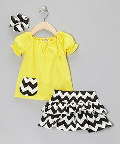 Take a look at this Yellow & Black Zigzag Ruffle Skirt Set - Infant, Toddler & Girls by Molly Pop Inc. on #zulily today!