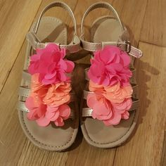 Girls Cherokee sandals size 12 girls Cherokee sandals. worn a few times and in very good condition. tan sandals with gold straps and flowers. Cherokee Shoes Sandals