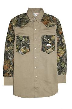 40d17bc120 Shirts 175630  Rasco Flame Resistant Khaki Woodland Camo Lightweight Twill  Work Shirt - 7.5 Oz