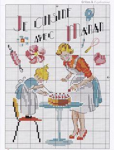 En surfant j'ai trouvé cette grille de point de croix qui m'a beaucoup plus, scène touchante d'une mère et sa fille qui cuisine ensemble ! Je la partage donc avec vous. Bonnes petites croix.