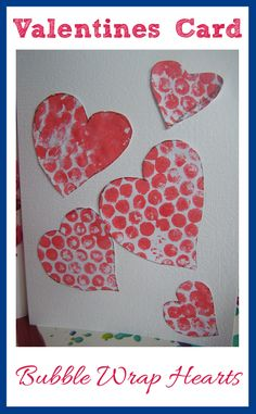 Valentines Craft Bubble Wrap Printed Hearts Valentines Craft Bubble Wrap Printed Hearts Rainy Day Mum rainydaymum Ideas from Rainy Day Mum Fun Valentines Craft for nbsp hellip crafts for infants Preschool Valentine Crafts, Valentine Sensory, Valentines Day Activities, Valentine Day Crafts, Holiday Crafts, Kids Crafts, Valentine's Cards For Kids, Heart Crafts, Bubble Wrap