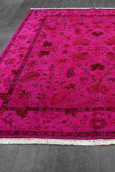 Over Dyed Floral Design Wool Rug   Hot Pink   8ft. X 10ft.