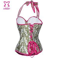 Clothing     Halter Top Burlesque Overbust Gothique Corset Sexy Corselet Taille protéger Corsage Korset Pour Femmes Serre-Taille De Mode Vêtements