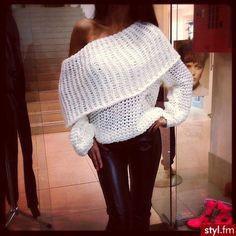 Pretty draping over white sweater