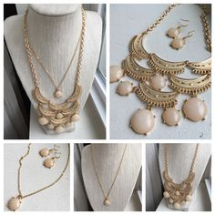 Stunning bib necklace just $16, simple delicate gold chain necklace just $10 and lightweight matching earrings just $8!! www.mail.yahoo.com