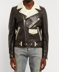 Black & White SAINT LAURENT Leather Jacket