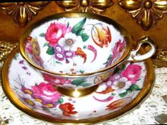 GOLD GILDED PINK ROSE FLORAL CHINTZ ROYAL CHELSEA BONE CHINA TEA CUP AND SAUCER #RoyalChelseaEngland