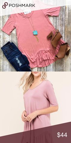 Pink Ruffled Top We are loving this new top! This gorgeous pink top features half sleeves, a ruffled bottom, and the SOFTEST material!   *Modeled photos included to show fit, first photo shows true color*  ❌ No Trades ❌ No lowball offers   ✅ Most orders ship next day  ✅ All items are NWT from Dixie Magnolia Boutique Tops Blouses