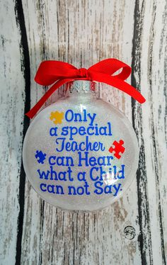 Autism Teacher Christmas Ornament Autism Awareness Ornament Special Teacher Christmas Ornament - Wordpress For Therapists - Ideas of Wordpress For Therapists - Teacher Ornaments, Teacher Christmas Gifts, Diy Christmas Ornaments, Glitter Ornaments, Christmas Puzzle, Vinyl Ornaments, Cricut Ornament, Christmas Ideas, Clear Ornaments
