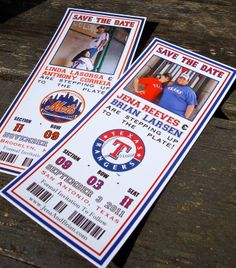 Baseball Ticket Save The Date with Photo (Sample) - FREE SHIPPING. $3.00, via Etsy.