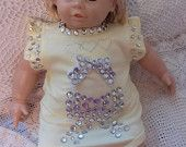Baby Girl Onesie/ Bodysuit with Bib, Pageant wear, Photo Prop, Rhinestones, Ribbon Bows, Hearts, Size 3-6 months (13-17 pounds)