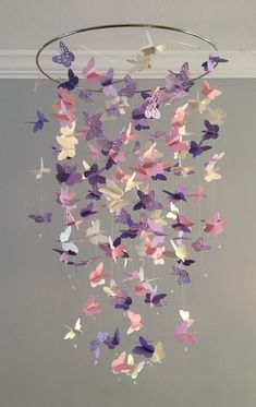 Butterfly Chandelier Mobile, in purple and pink-mostly solid butterflies girl room mobile,nursery mobile,baby girl mobile,baby mobile - Kinderzimmer Dekoration Butterfly Room, Butterfly Mobile, Flower Mobile, Butterfly Party, Butterfly Shape, Purple Butterfly, Baby Bedroom, Nursery Room, Girl Bedrooms
