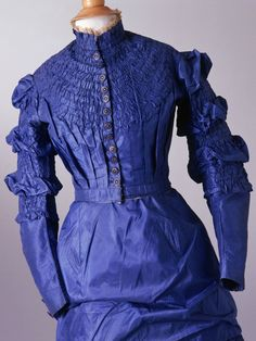 Day Dress: ca. 1870, silk, metal. Terrific blue color.