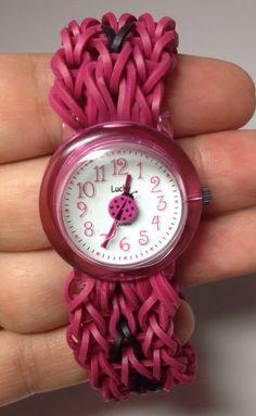 I have a watch that needs a strap... hmm...    (Rainbow Loom Girls Wrist Watch, Rubberband Friendship Bracelet! Lady Bug Pink on Etsy, $16.00)