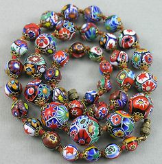Vintage Art Deco Venetian Murano Millefiori Art Glass Beads Necklace