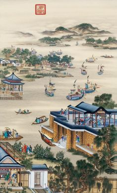May-Emperor Yongzheng's 12 joyful months at Yuanmingyuan - by Giuseppe Castiglione / 郎世宁 (Lang Shining - 1688 - 1766 AD), Qing Dynasty. Chinese Landscape Painting, Korean Painting, Chinese Painting, Landscape Paintings, Japanese Painting, Chinese Architecture, Art And Architecture, Traditional Paintings, Traditional Art