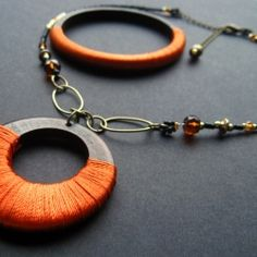 Autumn Bold Fiber Wrapped Necklace and Bracelet Set by Gilliauna