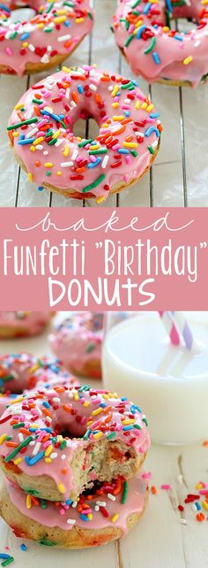 Baked Funfetti Donuts aka Birthday Donuts because it's MY BIRTHDAY! These homemade donuts are made with healthier ingredients and baked. Only 132 calories per donut and every bite has fun rainbow sprinkles! Baked Donut Recipes, Baked Doughnuts, Baking Recipes, Dessert Recipes, Baking Desserts, Delicious Donuts, Delicious Desserts, Yummy Food, Healthy Donuts