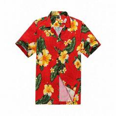 Men Hawaiian Aloha Shirt in Red with Yellow Floral Aloha Shirt, Hawaiian Print, Shirt Outfit, Tropical, Men Casual, Yellow, Floral Shirts, Red, Mens Tops