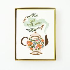 ID: 1117  Get Well Soon Teapot    Description:  4¼ x 5½ , Blank folded card  Printed full color on 88lb cotton cardstock Pack of 10 in clear plastic