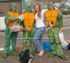 Homemade Teenage Mutant Ninja Turtles Group Costume: My son and his friends wanted to be ninja turtles... For this homemade Teenage Mutant Ninja Turtles group costume - we took paper disposable overalls from