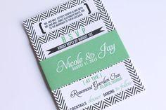 Modern and Bold Chevron Typography Wedding Invitations with Bellyband - DEPOSIT listing. $100.00, via Etsy.