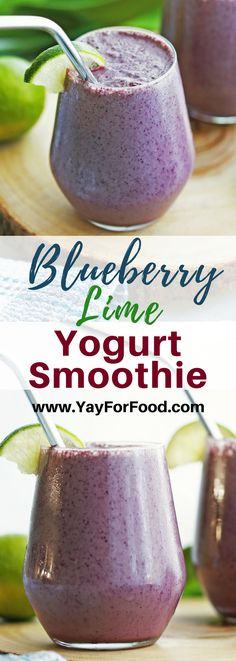 Start your day with this healthy and delicious breakfast smoothie featuring blueberries, lime juice, and spinach! Spinach Smoothie Recipes, Fruit Smoothie Recipes, Yogurt Smoothies, Raspberry Smoothie, Spinach Recipes, Juice Smoothie, Breakfast Smoothies, Healthy Smoothies, Healthy Drinks