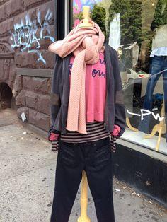Hartford scarf, Go Silk jacket, Michael Stars long sleeve tee, Sundry sweatshirt, D-ID moto jean.