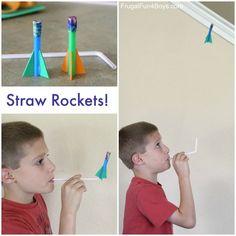 Zomervakantie - Knutselen - Raket op een rietje -How to Make Easy Straw Rockets - Frugal Fun For Boys and Girls Kids Crafts, Summer Crafts, Projects For Kids, Diy For Kids, Easy Crafts, Space Crafts, Toddler Crafts, Science Activities, Preschool Activities