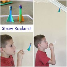 Zomervakantie - Knutselen - Raket op een rietje -How to Make Easy Straw Rockets - Frugal Fun For Boys and Girls Crafts For Boys, Projects For Kids, Diy For Kids, Fun Crafts, Space Crafts, Toddler Crafts, Kid Science, Science Activities, Preschool Activities