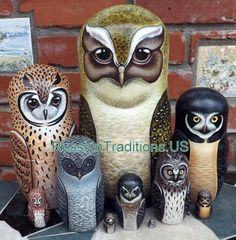 Beautiful set of ten nesting dolls was carved of wood, hand painted and signed by the artist in Central Russia. Matte finish. Ten dolls are covered with one layer of lacquer to protect the artwork. Tallest doll is ten inches. New. 1-Crested Owl 2-Stripped Owl 3-Spectacled Owl