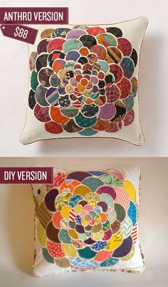 Create a collaged fabric throw pillow. | 38 Anthropologie Hacks