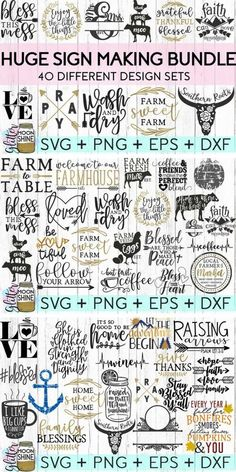 Huge Sign Making Bundle of SVG cut files for Cricut or Silhouette DIY projects! SVG files are perfect for laundry room signs, kitchen signs or wall art home decor! #ad #svg #svgfiles #cricutexplore #cricutmade #silhouette #cameo #vinyl #decals #diyproject #craftideas #laundryroom #kitchenideas #signs #signage...