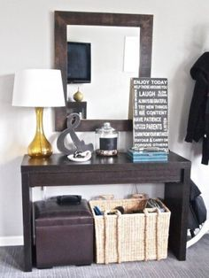 EntryWay--cute little entry table. love the ampersand, chalkboard change apothecary jar life subway art! Apartment Living, Living Room, Living Spaces, Small Living, Apartment Ideas, Apartment Therapy, Hazelwood Home, Home Decor Inspiration, Decor Ideas