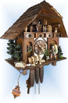 August Schwer | 4.0437.01.c | 14''H | Goat Peddler | Chalet | cuckoo clock | left