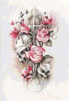 Resultado de imagem para beautiful skull tattoos for women Bild Tattoos, Body Art Tattoos, Tattoo Drawings, New Tattoos, Sleeve Tattoos, Tatoos, Thigh Tattoos, Skull Drawings, Tattoo Ink