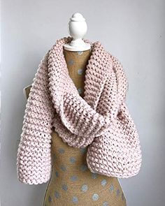 e7eea0cf018 Chunky Knit Super Scarf - Oversized Knitted Long Scarf in Powder Pink