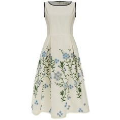 Wendy White Blue Flower Embroidered Silk Organza Dress