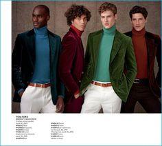 Corey Baptiste, Miles McMillan, Joel Meacock, and Ryan Kennedy don velvet blazers from Tom Ford.