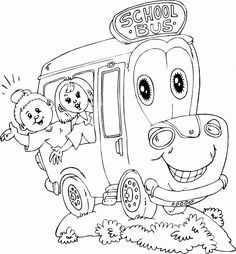 schoolbus with two kids coloring page