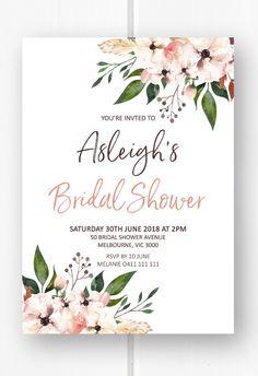 Boho bridal shower invitation printable, bridal shower invites, boho bridal shower ideas from Pink Summer Designs on Etsy